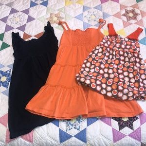 4T Girls bubble top orange brown polka dots only